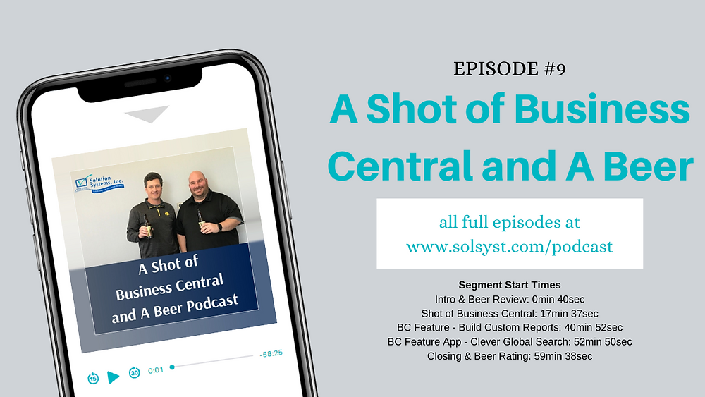 A Shot of Business Central and A Beer Podcast Episode 9. Reporting in Business Central and Clever Global Search Review.