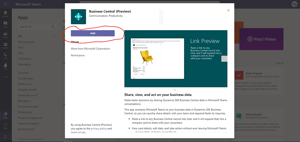 Adding the Business Central App to Microsoft Teams