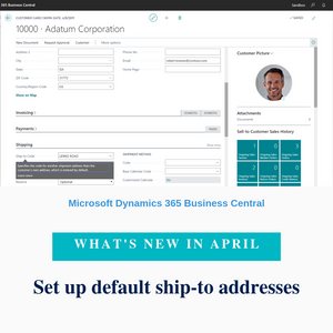 Customers can have multiple addresses but they usually have a central warehouse that goods must be shipped to. You can now define a customer's default ship-to address in the Ship-to Code field on the customer card, which will automatically be inserted on sales documents for the customer. You can still change the ship-to address on sales documents.
