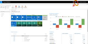 Dynamics 365 for Financials Settings Gear