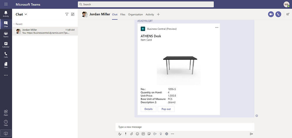 Successful Business Central app sign in within Microsoft Teams