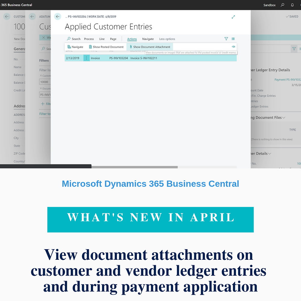 The Document Attachments feature allows you to attach any type of file to a sales or purchase document within Business Central. This is useful, for example, when settling vendor payments so that you can quickly view the original invoice that the vendor sent you. Now, attachments on sales and purchase documents can be viewed on the resulting Customer Ledger Entries and Vendor Ledger Entries pages and you can view them on the Apply Entries pages as you apply payments to ledger entries.