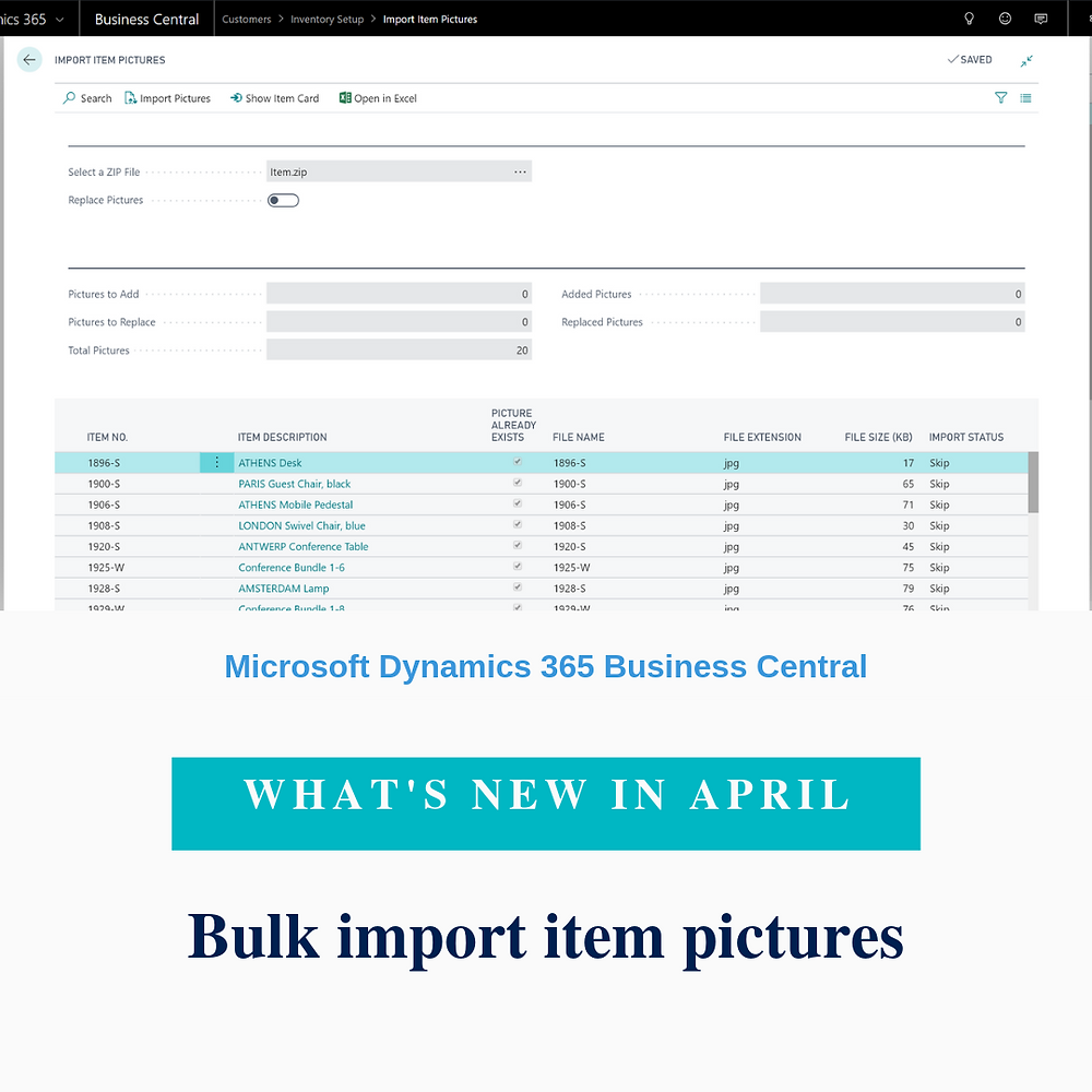 You can now import multiple item pictures in one go. Simply name your picture files with a name corresponding to your item numbers, compress them to a zip file, and then use the Import Item Pictures page.