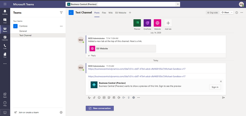 Paste the Business Central link into Microsoft Teams