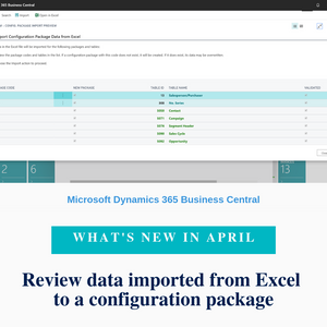 While migrating your data to Business Central with RapidStart Services, it is useful to see errors that occurred for a specific table within the configuration package. This works fine when you are importing a low number of tables. However, when you are importing a large number of tables, you may need to distribute data-cleaning tasks to different teams because it is cumbersome to do this for each table. When importing and validating your configuration packages, you can now see errors per package. You can choose the Show Errors for Configuration Package action to see all errors in a configuration package. On the new Config. Package Errors page, you can filter by error text, field, or table, and you can export such filtered lists to Excel. You can also drill down to a specific error to see the exact data that is causing an error