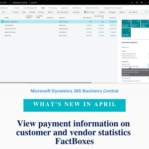 Information about payments and last payment dates is now available on customer and vendor statistics FactBoxes.