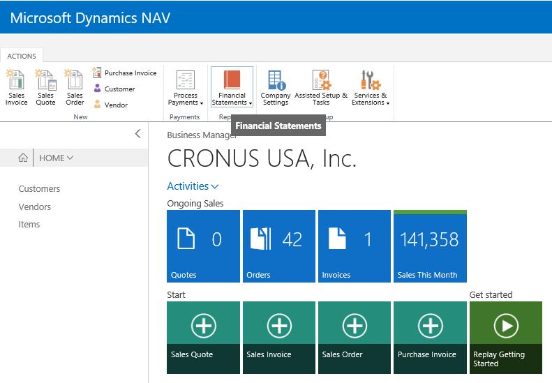 Financial reports in Microsoft Dynamics NAV 2017