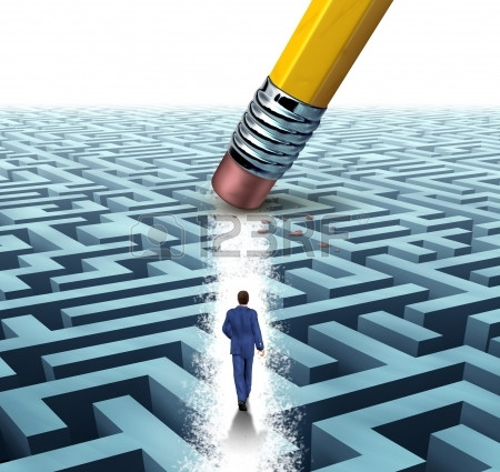 18283467-leadership-solutions-with-a-businessman-walking-through-a-complicated-m