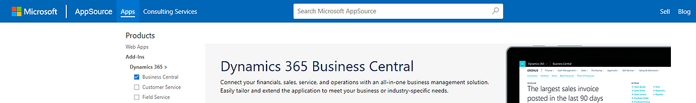 Microsoft Dynamics 365 Business Central Apps on AppSource