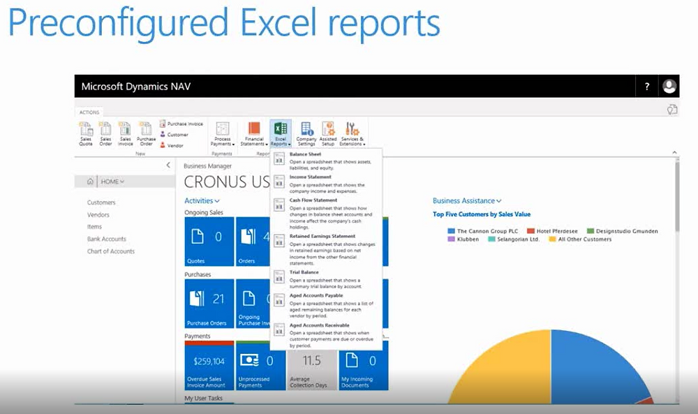 NAV 2018 - What's New - Preconfigured Excel Reports