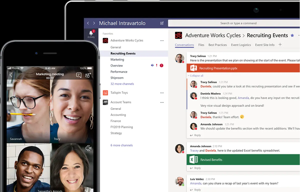 Talk, text, and video collaboration is simple with Microsoft Teams