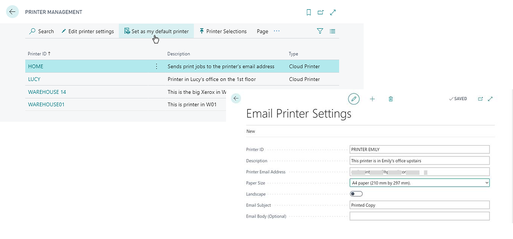 Print directly to printers in Business Central