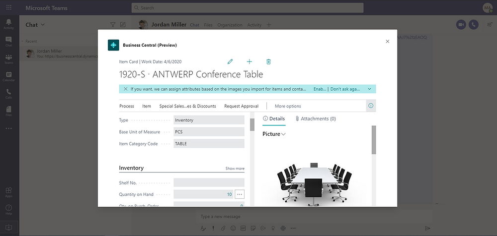 Microsoft Teams' Business Central Details pop up card page integration