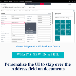 Address information on document pages is typically auto-filled based on the selected customer or vendor. In most cases, users therefore want to skip over the Address field when keyboarding through documents. With the Quick Entry feature, you can now define that the cursor skips over the Address field on sales and purchase documents when you press the Enter key.