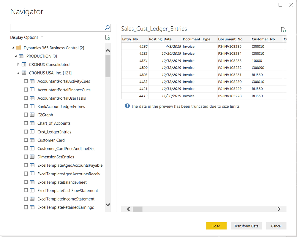 Previewing Business Central's data in Power BI Desktop