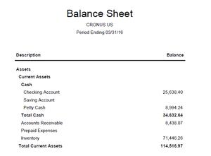 Dynamics NAV Financial Reports Balance Sheet