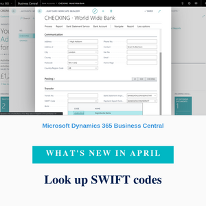 You can now keep a list of SWIFT codes for banks that you work with and use it on pages where you use bank accounts. This allows for accurate preparation of payments and forces users to pick from predefined lists of SWIFT codes rather than entering SWIFT codes as free text.