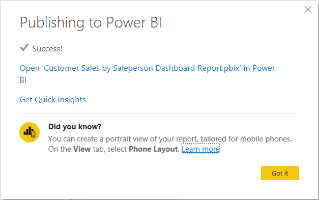 Publish Power BI Desktop data to Power BI cloud portal.