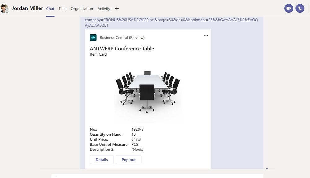 Business Central and Microsoft Teams integration features and functionality.