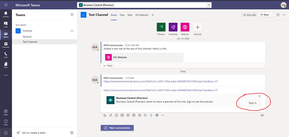 Sign into Business Central app from inside Microsoft Teams