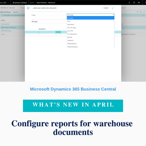 You can now configure which reports will be printed for warehouse documents such as Pick, Put-away, and Shipment by using the Report Selection feature as for documents in other areas.