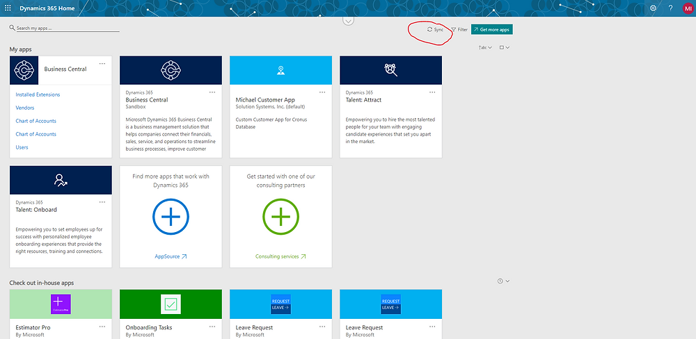 Bring back your Business Central icon by syncing your Dynamics 365 Home Page
