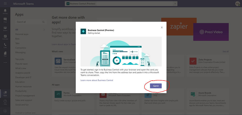 Sign into Business Central in Microsoft Teams