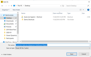 Save and publish your Business Central report created in Power BI Desktop.