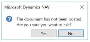 "Changing the ""document has not been posted"" Notification in Dynamics NAV"