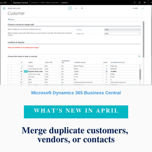 When a duplicate customer, vendor, or contact record is created by mistake, you can now merge such duplicate records to a single record, given that you have the MERGE DUPLICATES permission set.
