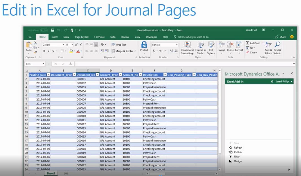 NAV 2018 - What's New - Edit in Excel for Journal Pages