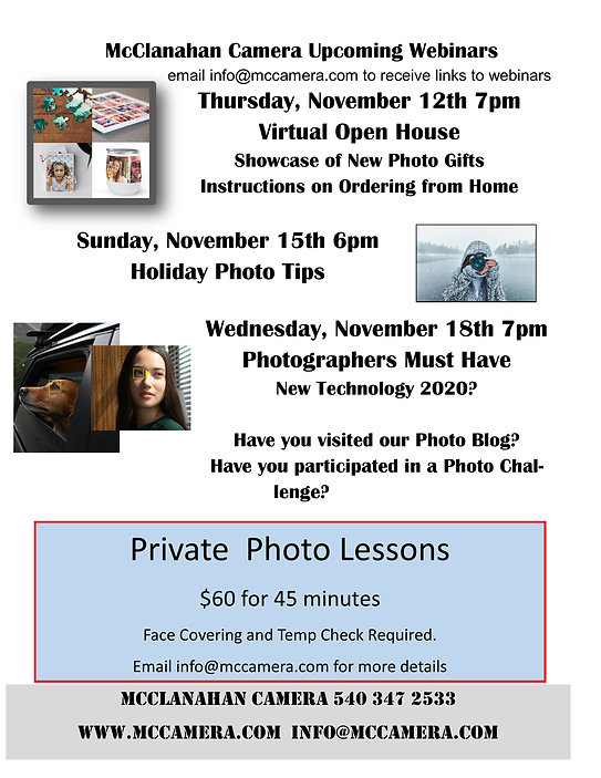 McClanahan Camera Upcoming Webinars nov