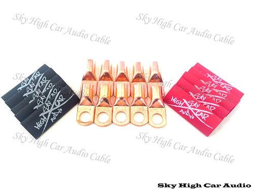 SHCA 4 Gauge Copper Ring Terminals 1/4 Hole w/ Heat Shrink Tubing - 10 Pack