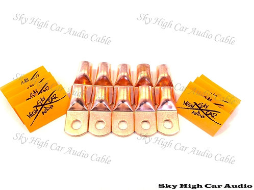 Sky High Car Audio 1/0 Gauge Copper Ring Terminals w/ Heat Shrink Tubing - 10 Pa