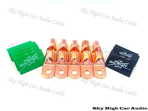 Sky High Car Audio 2/0 Gauge Copper Ring Terminals w/ Heat Shrink Tubing - 10 Pa