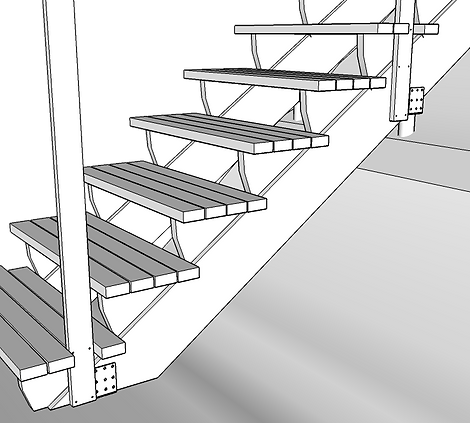 Infästning räcke i trappa