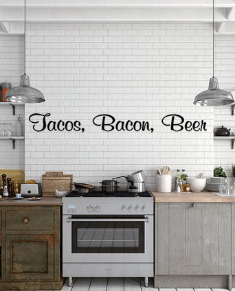 Tacos,Bacon, Beer Kitchen Decal