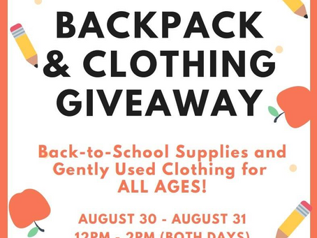 Free Back pack and School Supply Giveaway with your fellow schools and your KIDS! ❤️ Aug30/31