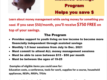 Youth matched savings registration