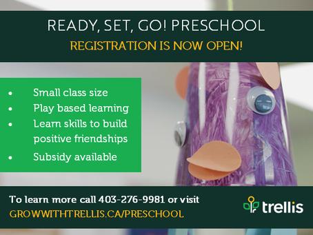 Ready,Set, Go Preschool Registration is now open !