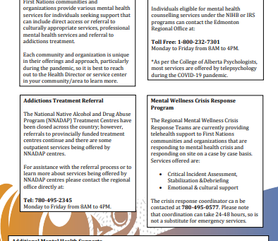 ISC First Natioons & Inuit Health Branch-Alberta Region Mental Health Supports