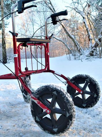 Carl-Oskar och Rollatorbroddar en vinterdag