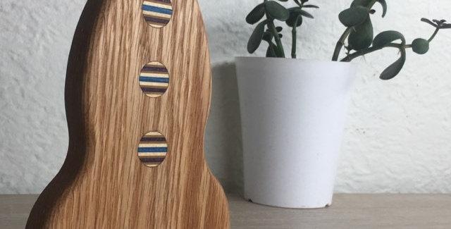 Fusée en chêne et skateboard recyclé