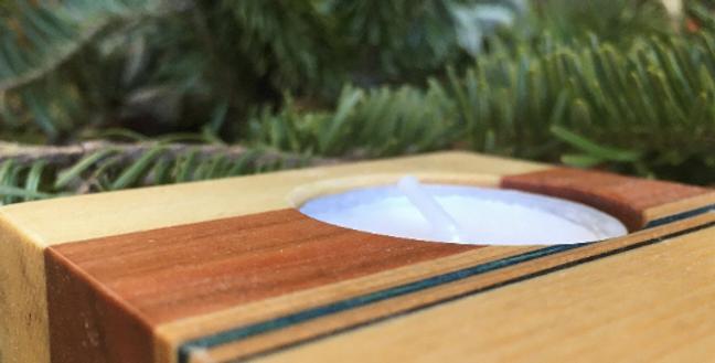 Bougeoir en skateboard & bois recyclé