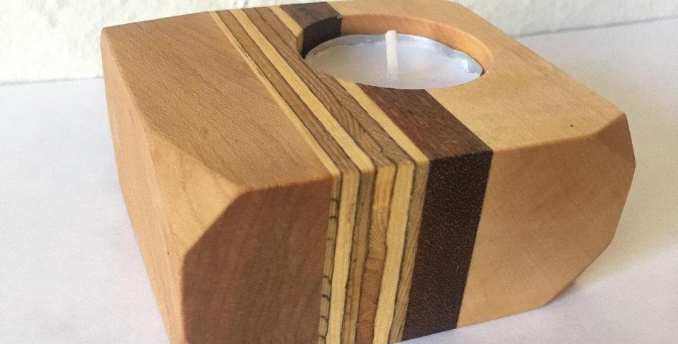 Bougeoir en  bois recyclé