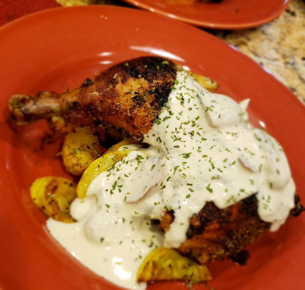 Roasted Chicken with Cream Sauce
