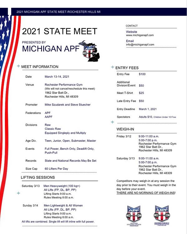 2021 Michigan APF/AAPF State Meet Flyer