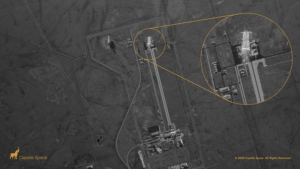 SAR imagery captures the Jiuquan Launch Center where China recently launched its new commercial CERES-1 rocket. The spaceport's launchpad areas and vertical assembly area are clearly visible in the radar image and a zoomed in version shows the launch pad.