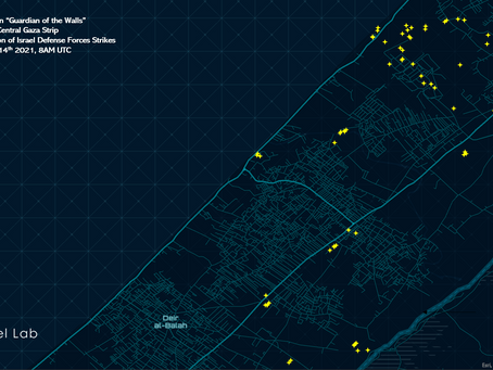 """Operation """"Guardian of the Walls"""" - Spatial Distribution of IDF strikes on the Central Gaza Strip."""