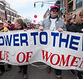 League of Women VOters banner at Womens March Morristown 2018